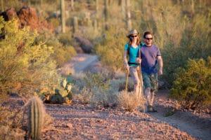 Tucson rental tenants hiking in the desert.
