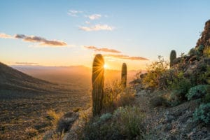 Sunset viewed from mountains in Tucson, where you can find great rental properties.
